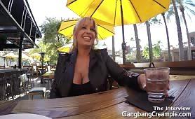 Busty blonde slut gangbanged hard